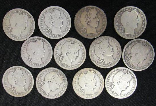 Lot (12) Mixed Date Barber Silver Quarters