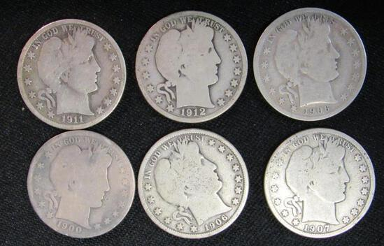 Lot (6) Mixed Date Barber Half Dollars Silver