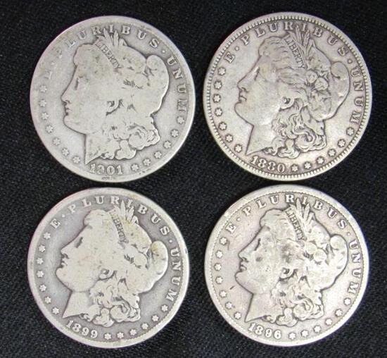 Lot (4) Morgan Silver Dollars 1880, 1896, 1899-O, 1901-O