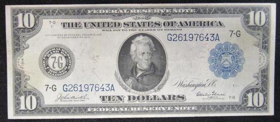 1914 $10 FRN Federal Reserve Note Large/ Chicago
