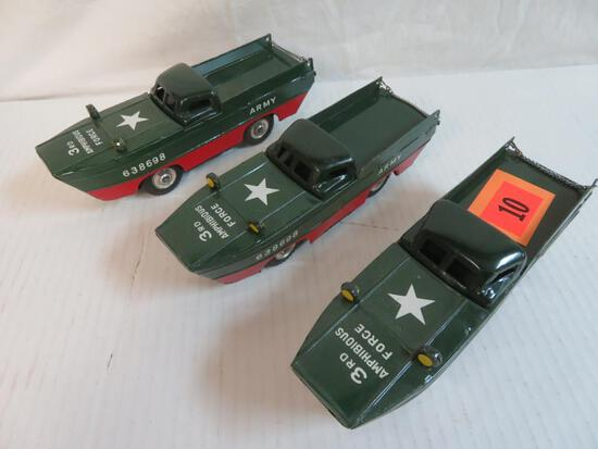 "Outstanding Lot (3) Vintage K Japan Tin Friction 9"" Amphibious Army Vehicles"