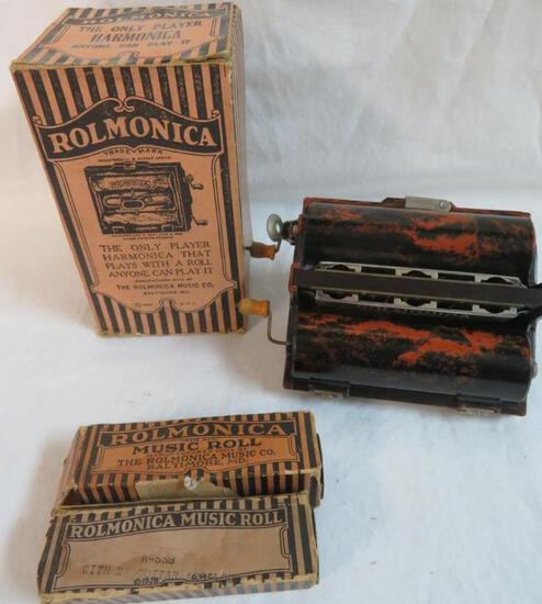 Antique 1920's Rolmonica Player Harmonica with Music Rolls