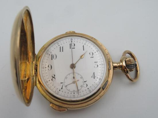 Unnamed English 14K Gold Repeater Chronograph Pocket Watch