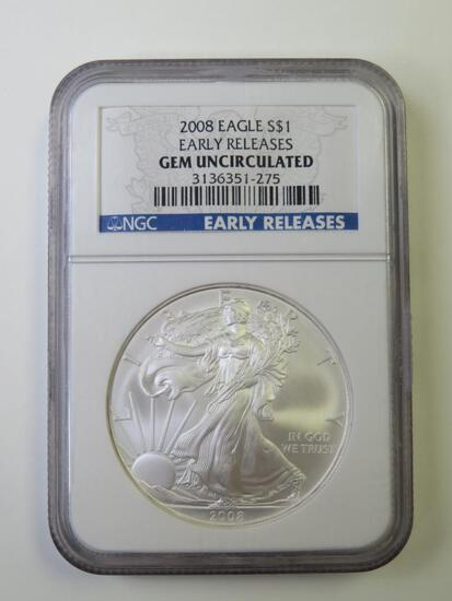 2008 U.S. Silver Eagle $1 Dollar Coin NGC Graded GEM Uncirculated