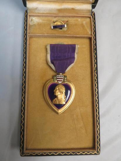 WWII Cased Purple Heart Medal with Ribbon Pin