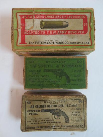 Grouping of Antique Early Ammo 2 pc. Boxes, As Shown