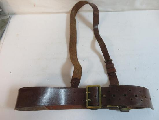 Original WWII British Military Leather Belt with Brass Buckle