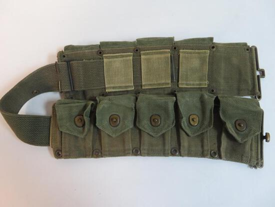 WWII U.S. Military 10 Pocket Ammo Belt, Rare Two-Tone
