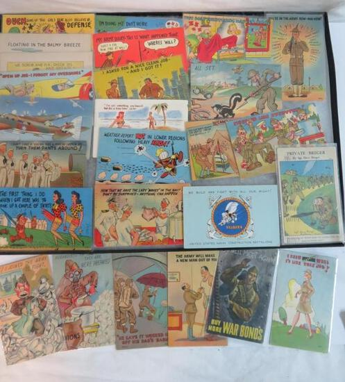 Lot of (25) Vintage Military Humor Postcards