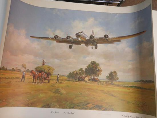 """Excellent """"Shoo Shoo Baby"""" B-17 Bomber Print By John Young, Artist Signed"""