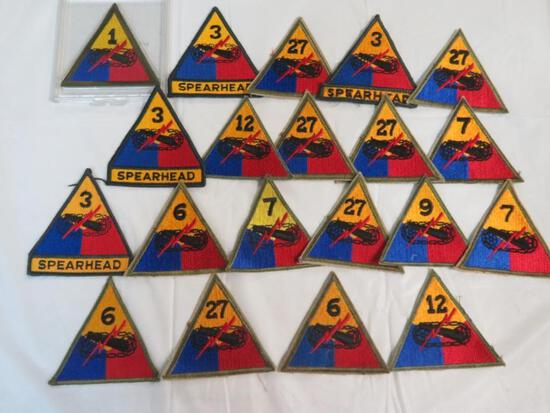 Lot of (20) U.S. Army Armored Division Patches