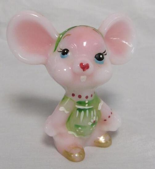 Beautiful Artist Signed Fenton Rosalene Hand Painted Mouse