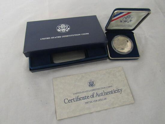 """1987 US Constitution """"We The People"""" Silver Proof Dollar MIB"""