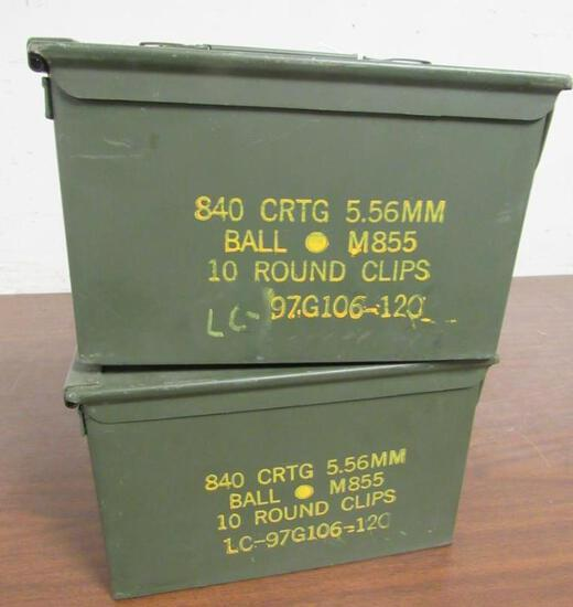 Lot (2) Vintage Steel Military Ammo Cans