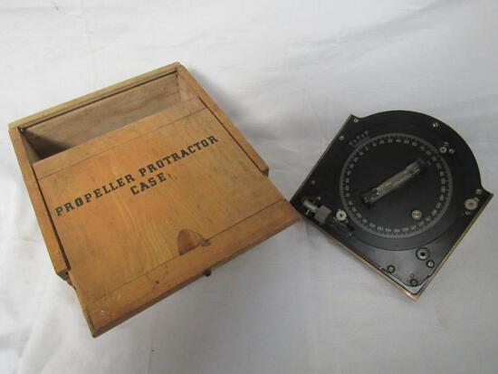 Rare & Early Curver Airplane Propeller Protractor w/ Original Wooden Case