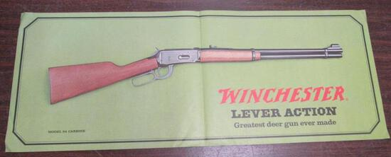 Rare 1960's Original Winchester Model 94 Lever Action Carbine Advertising Poster 13 x 34