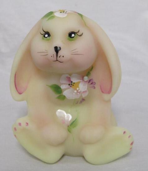 Beautiful Artist Signed Fenton Satin Burmese Hand Painted Rabbit