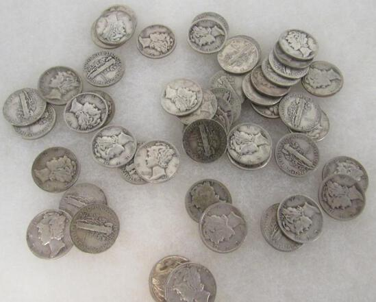 Roll (50) $5.00 Face Assorted US 90% Silver Mercury Dimes