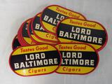 Lot (20) Antique NOS Lord Baltimore Cigars Window Stickers / Decals