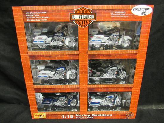 Maisto Harley Davidson Diecast 1:18 Motorcycle Box Set #2 (Police)