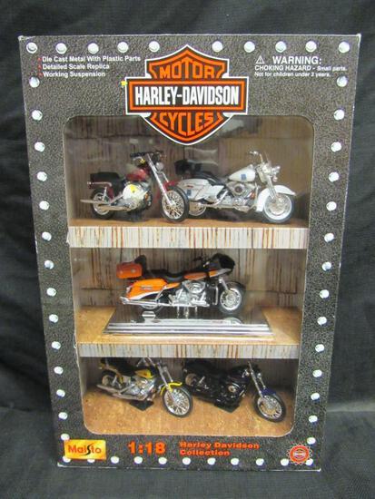 Maisto Harley Davidson Diecast 1:18 Motorcycle Box Set