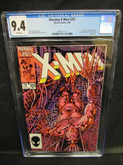 Uncanny X-Men #205 (1986) Key Origin of Lady Deathstrike CGC 9.4