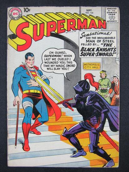 Superman #124 (1958) Golden Age DC~ The Black Knight