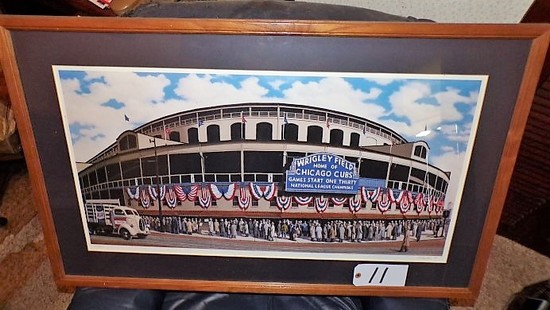 "Tom Kolendra: ""Outside Wrigley Field"" 18""x33"" print - 38.5""x24"" w/ frame. 1"