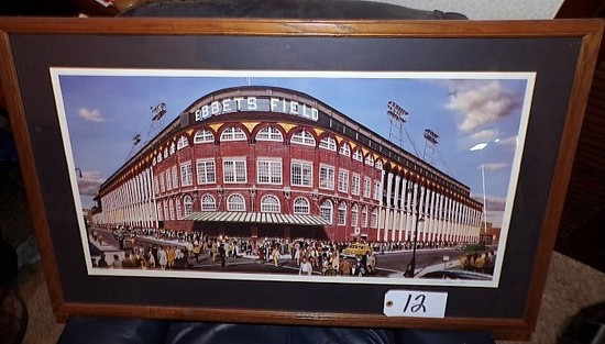 "William Feldman: ""Outside Ebbets Field"" 18""x33"" print - 38.5""x24"" w/ frame."