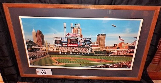 "Bill Purdom: ""First Jacobs Pitch"" 18""x33"" print - 38.5""x24"" w/ frame. Signe"