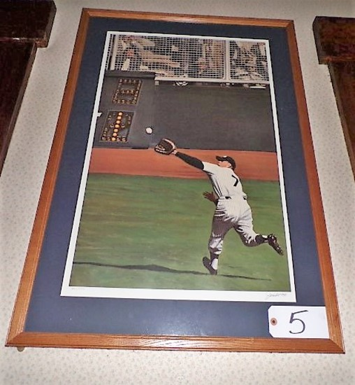 "Andy Jurinko: ""Mantle's Perfect Catch"" 31""x20"" print - 25.5"" x 37"" w/ frame"