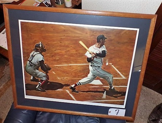 "Andy Jurinko: Ted Williams at bat in 1955 25 3/4"" x 32"" print - 35""x30"" w/"