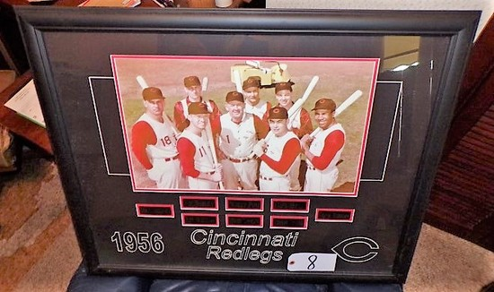 "1956 Cincinnati Redlegs team 33"" x 27"" w/ frame"