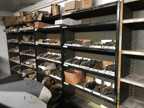 (5) 7ft. Metal shelves w/ black pipe fittings & contents