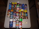 Assorted paint spray cans