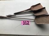 (3) Antique metal coal shovels