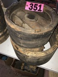 (2) Antique wood fly wheels