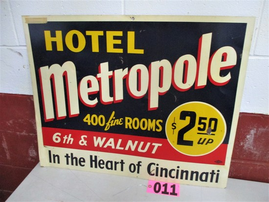 Hotel Metropole metal sign, Cincinati, OH, 30in x 24in