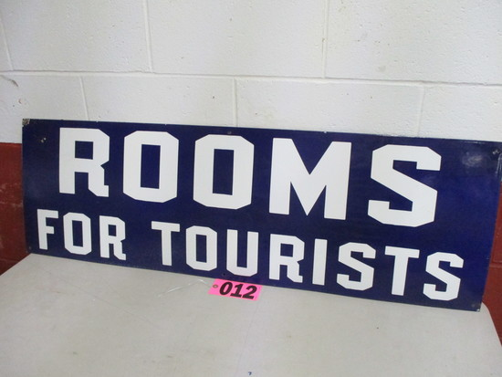 Rooms For Tourist cobalt porcelain sign, 47in x 15in