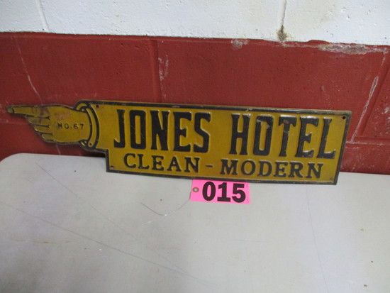 Jones Hotel finger sign, 27in x 6.5in