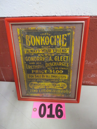 Metal Bonkocine Gonorrhea medicine advertisement, framed, 6.5in x 10in
