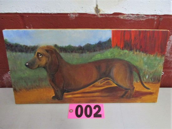Dachsun Oil on canvas, 20in. X 10in., unframed, artist Isabel Culbertson (u