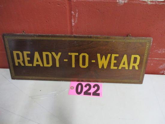 "Wood ""Ready to Wear"" double sided sign, 20in x 7 in"
