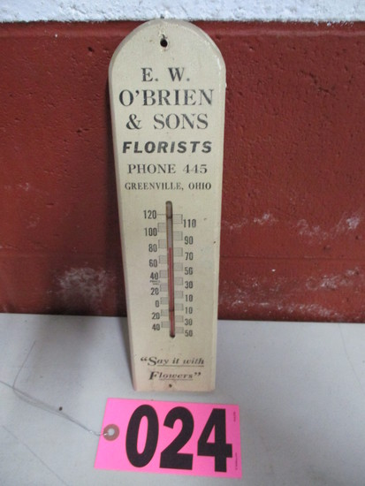 Small wood advertising thermometer EW Obrien & Sons, Greenville, OH, 12in x