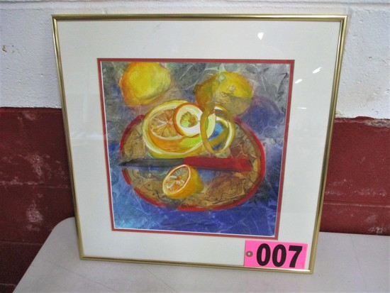 Cut Lemons watercolor, 19.5in x 19.5in, framed, mated, underglass, artist I