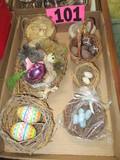 Box of decorative bird nest & eggs