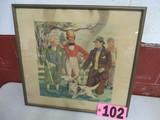 Vintage Hunt Print, 17in x 18.5in, framed