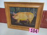Stnading Sow oil on canvas, framed,  15.5in x 18.5in,   artist signed Isabe