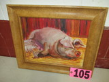 Nursing Sow oil on canvas, framed,  15.5in x 18.5in, artist signed Isabel C