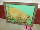 Hog oil on canvas, framed, 14in x 18in, artist Isabel Culberston